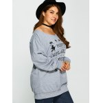 Pullover Letter Witch Print Sweatshirt for sale