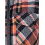 best Button Up Flap Pockets Plaid Hoodie