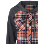 Button Up Flap Pockets Plaid Hoodie deal