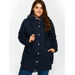 Buttoned Pockets Design Fleece Hooded Coat photo