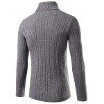 cheap Slim Fit Turtleneck Cable Knit Sweater