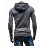 cheap Graphic Print Emboss Hooded Zip-Up Hoodie