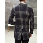 Single Breasted Lapel Wool Mix Checkered Coat deal