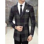 cheap Single Breasted Lapel Wool Mix Checkered Coat