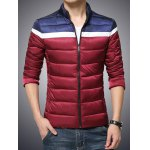 cheap Funnel Neck Zip Up Color Block Padded Jacket