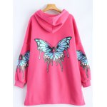 cheap Butterfly Print Pocket Design Zip Up Hooded Coat