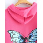 Butterfly Print Pocket Design Zip Up Hooded Coat photo
