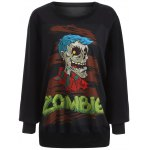 best Plus Size Halloween Skulls Print Sweatshirt