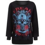 best Plus Size 3D Rose Skulls Halloween Sweatshirt