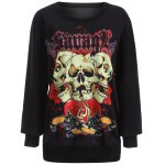 best Plus Size 3D Skulls Print Halloween Sweatshirt