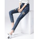 Pencil Patched Jeans for sale