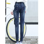 High Waist Patched Pencil Jeans photo