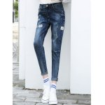 cheap High Waist Patched Pencil Jeans