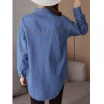 Pocket Embroidery Denim Shirt for sale