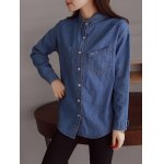 cheap Pocket Embroidery Denim Shirt