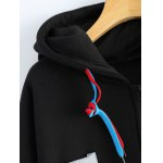 Patchwork Plus Size Hooded Zip Up String Coat deal
