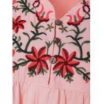 Plus Size Embroidered Bib A Line Dress deal