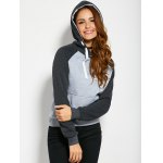 cheap Color Block Drawstring Hoodie with Front Pocket