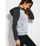 Color Block Drawstring Hoodie with Front Pocket for sale
