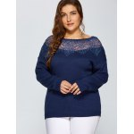 cheap Plus Size Lace Spliced Pullover Sweater