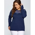 Plus Size Lace Spliced Pullover Sweater for sale