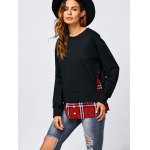 cheap Side Slit Plaid Trim Sweatshirt
