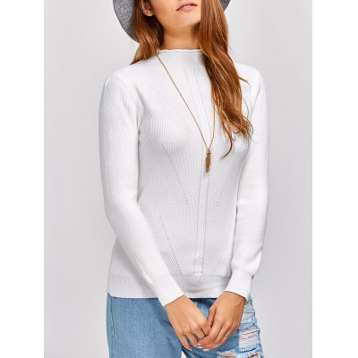 High Neck Knit Ribbed Sweater