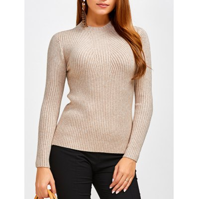 High Neck Ribbed Pullover Sweater