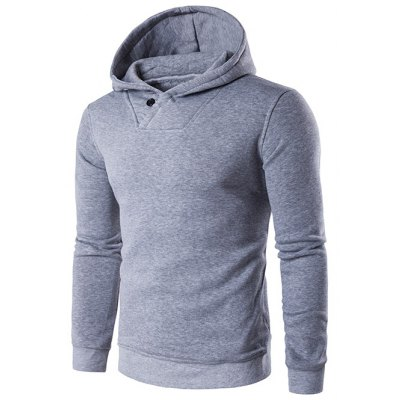 Button Embellished Hooded Hoodie