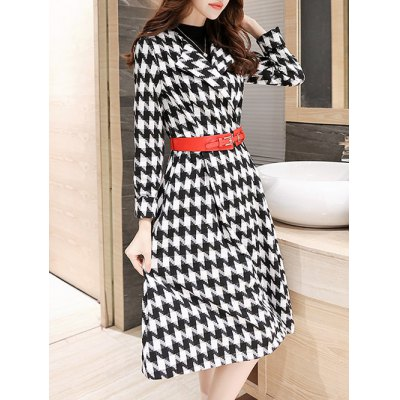 Houndstooth Fit and Flare Wool Coat