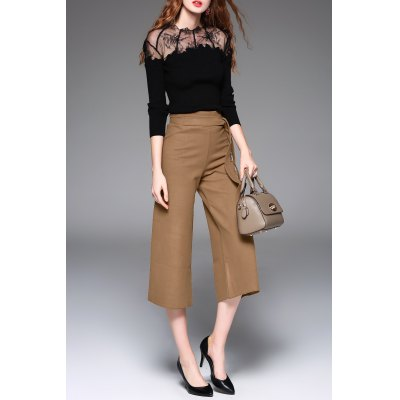 See-Through Lace Splicing Sweater and Wide Leg Pants