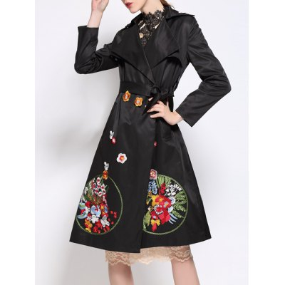Floral Embroidered Wrap Trench Coat
