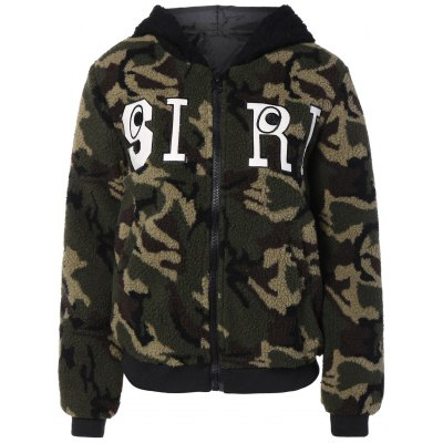 Camouflage Pattern Hooded Jacket