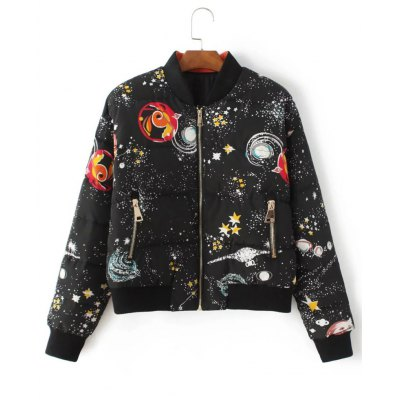 Starry Sky Print Quilted Jacket
