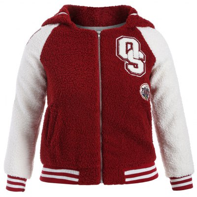 Plus Size Appliques Fleece Baseball Jacket