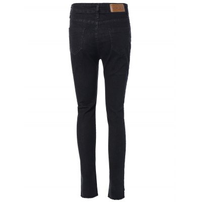 High Waist Distressed Tight Jeans