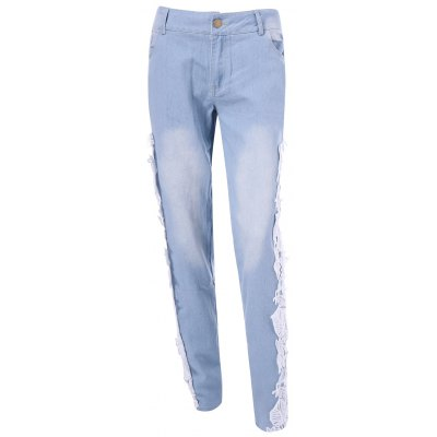 Lace Insert Pencil Jeans