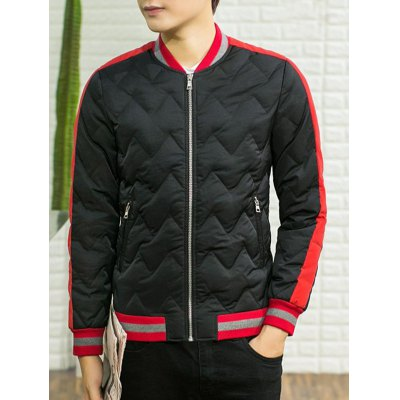 Color Block Spliced Stand Collar Waviness Cotton Padded Jacket