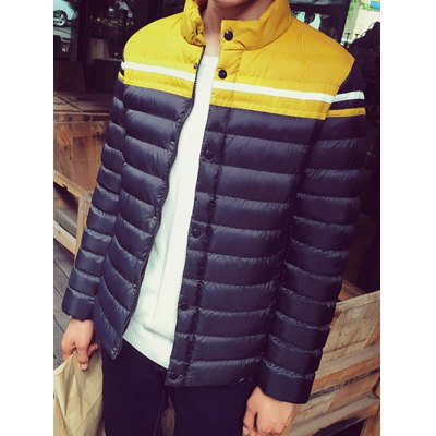 Funnel Neck Color Block Zipper Padded Jacket