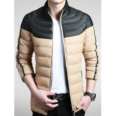 Striped Color Block Zip Up Padded Jacket