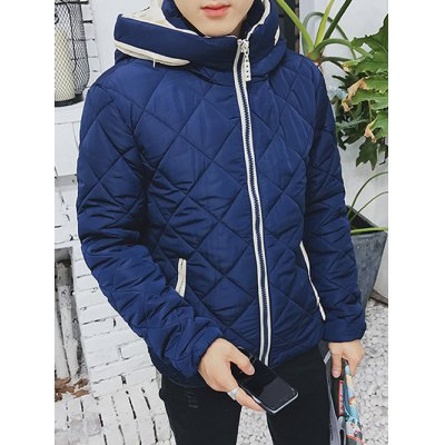 Color Block Zip Up Hooded Padded Jacket