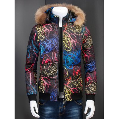 Zip Up Printed Quilted Jacket with Fur Trim Hood