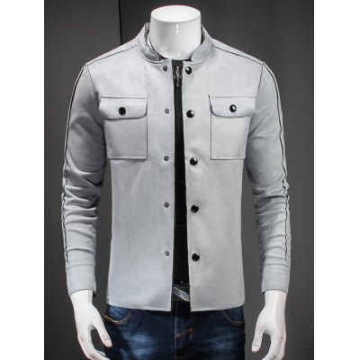 Stand Collar Button Up Front Pocket Jacket