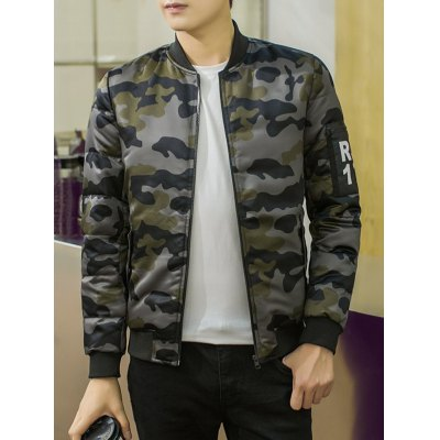 Camouflage Pattern Stand Collar PU Applique Cotton Padded Jacket