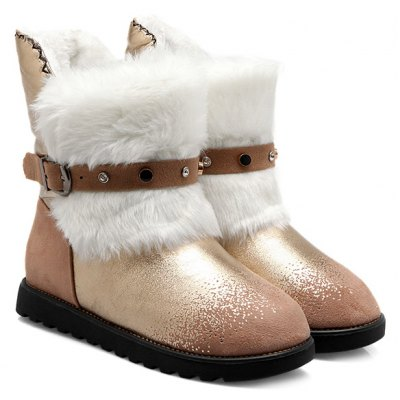 Buckle Strap Fuzzy Snow Boots