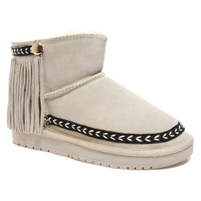 Fringe Suede Snow Boots