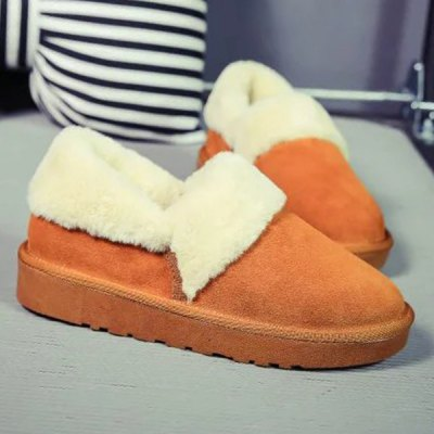 Flocking Ankle Snow Boots