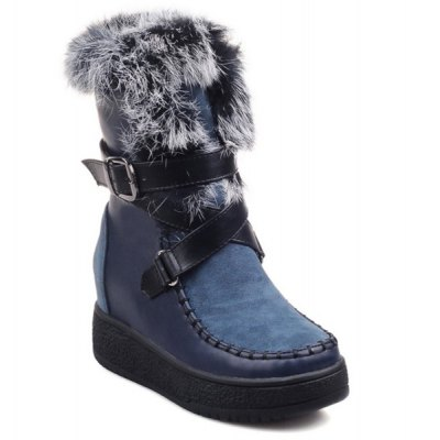 Buckle Faux Fur Short Boots