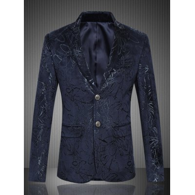 Flap Pocket Single Breasted Jacquard Blazer
