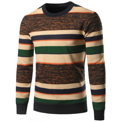 Crew Neck Color Block Leopard Spliced Stripe Sweater